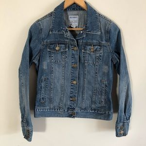 Old Navy Distressed Blue Jean Jacket Size Small